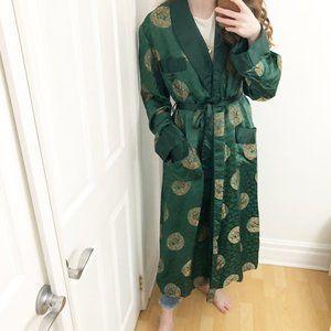 Vintage Oversized Silky Kimono Robe Emerald Green